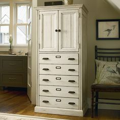 HOME DECOR – FURNITURE – CABINET – Distressed wood cabinet with 5 drawers and a top storage cupboard.       Product: Cabinet    Construction Material:
