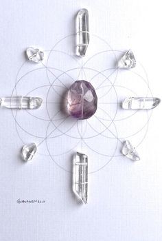 ALLOW YOUR DESIRES  framed sacred geometry crystal grid :: amethyst, clear quartz