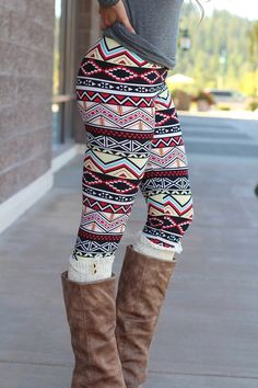 Chevron Pyramids Aztec Print Leggings -- although we clearly do not wear leggings as pants.