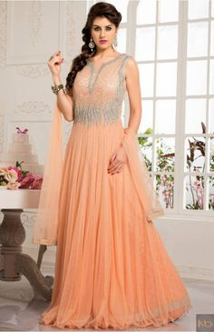 Cream Net Readymade Gown with Dupatta