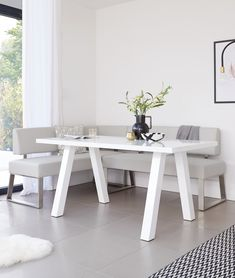 The Zen White Gloss and Dover Right Hand Corner Bench Set includes a white gloss 6 seater dining table and faux leather corner bench, which can seat up to 5 people. There is also the option to add a matching backless dining bench. Kitchen Corner Booth, Corner Dining Bench, 6 Seater Dining Table, White Dining Table, Square Dining Tables, Dining Set, Dining Chairs, Glass Furniture, Dining Furniture