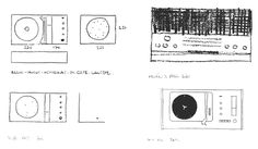 Dieter Rams - sketches for SK4 record player, G11 radio, Atelier 1 radio and record player