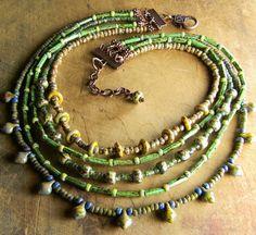 Joyería tribal Boho collar azul multi-hilo Picasso por ChrysalisToo