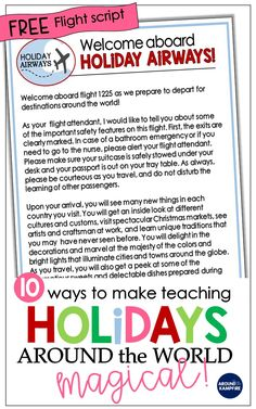 FREE Holidays Around the World Flight Script & Teaching Ideas