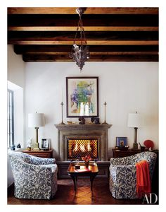 Though the mantel originated as a functional hood to catch smoke coming out of the fireplace, it has since evolved into a decorative element, with options to fit every taste. A beautifully styled mantel can be the highlight of any space, whether a living room, library , or home office. It's also the perfect showcase for your favorite photographs, sets of candlesticks, pottery, or travel keepsakes. Here, see our favorite mantels from the AD archives. Shown: In the breakfast room of interi...