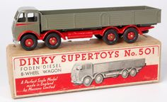 Dinky #501 Foden type 1 diesel 8-wheel wagon, dark grey cab/back, red flash, chassis and hubs