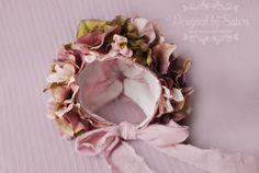 Sitter Floral Bonnet - Newborn Girl Photo Prop - Mauve Flower bonnet - Designed by Sisters Photography Props - Dusty Pink flowers bonnet