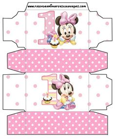 First Year of Minnie with Polka Dots: Free Printable Boxes. Minnie Mouse Birthday Decorations, Minnie Mouse 1st Birthday, Minnie Mouse Party, Minnie Baby, Baby Disney, Imprimibles Baby Shower, Baby Shower Clipart, Disney Cards, Printable Box
