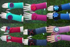 Upcycled Wool Sweater Arm Warmers Fingerless Gloves