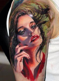 awesome tattoos by Csaba Müllner Pin Up Tattoos, Tattoo You, Life Tattoos, Body Art Tattoos, Random Tattoos, Portrait Tattoos, Candy Tattoo, Hyper Realistic Tattoo, Famous Tattoo Artists
