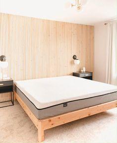 Small Room Interior, Interior Design Living Room, Bedroom Bed Design, Diy Bedroom Decor, Minimalist Bedroom, Modern Bedroom, Headboards For Beds, Bed Headboard Wood, Lull Mattress