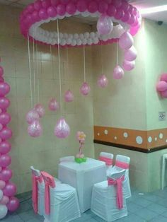 23 Balloon decorations   Grad   Pinterest   Coordinating colors     Hanging above table balloon decoration