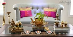 Pinkz Passion : Harmoniously Traditional ( Home Tour of Padmaja Rama) – Part 1 – Indian Living Rooms Ethnic Home Decor, Indian Home Decor, Diy Home Decor, Temple Room, Indian Home Design, Indian Living Rooms, Traditional House, House Colors, Living Room Decor