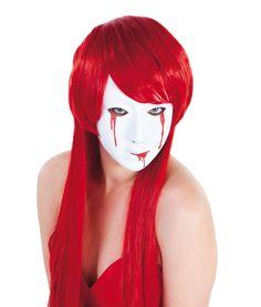 Masker met bebloede tranen voor vrouwen: Dit bebloed masker voor vrouwen is gemaakt van soepel plastic. Deze is wit en bevat uitlopende bebloede tranen op oogs hoogte en aan de mond.Openingen zijn voorzien aan de ogen, neus en mond.Het...