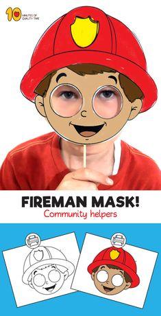 Fireman Mask Template - New ideas Fireman Kids, Fireman Crafts, Community Helpers Crafts, People Who Help Us, Mask Template, Mask For Kids, Preschool Activities, Paper Mask, File Format