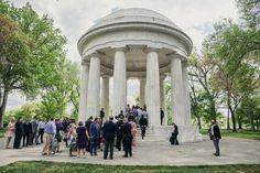 wedding ceremony at DC War memorial |  Kristen & Alex's Modern Meets Vintage, Intimate DC Wedding at Darlington House | Images: Love Life Images