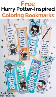 Add a touch of magic to your reading fun with these free Harry Potter-Inspired Coloring Bookmarks for all. Featuring 8 c Harry Potter Comics, Harry Potter Teachers, Harry Potter Day, Harry Potter Bookmark, Harry Potter School, Harry Potter Classroom, Harry Potter Cosplay, Harry Potter Birthday, Harry Potter Characters