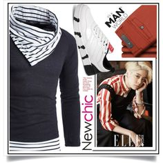 Newchic - Striped VII/3 by ewa-naukowicz-wojcik on Polyvore featuring men's fashion and menswear