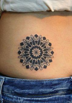 geometric  flower tattoos   Black geometric flower tattoo side