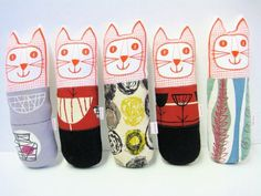 Cats with 50s fabric by Jane Foster