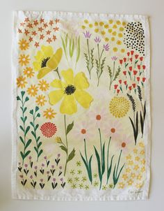 yellow floral dish towel by lisa rupp (HT thehousethatlarsbuilt.blogspot.com)