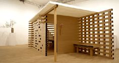 Paper Tea House: by Japanese architect, Shigeru Ban - This artwork recently sold for £31,700. The house is made entirely from recycled cardboard rectangular tubes, as is the table and four stools in the main room and the customary bench in the waiting area. By including details such as the waiting area, Ban is keeping the design of the house in line with traditional tea ceremony practice.