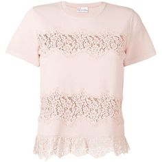 Red Valentino lace applique knitted T-shirt ($495) ❤ liked on Polyvore featuring tops, t-shirts, lace t shirt, lace top, applique t shirts, applique top and pink top