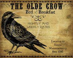 Primitive Vintage Olde Crow Bed and Breakfast Feedsack Logo Pantry Jar Crock Crate Book Label Jpeg Image, $3.00