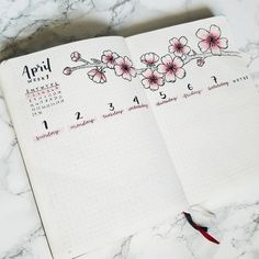 Bullet journal weekly layout, cherry blossoms drawing, hand lettering, cursive d. April Bullet Journal, Bullet Journal Weekly Layout, Bullet Journal Aesthetic, Bullet Journal Notebook, Bullet Journal Ideas Pages, Bullet Journal Spread, Bullet Journal Inspiration, Cherry Blossom Drawing, Cherry Blossom Theme