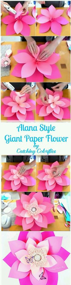 Alana Style Giant Flower Templates DIY this 21 inches ombre pink giant paper flower. Full template patterns and tutorials. Giant Paper Flowers, Paper Flower Backdrop, Diy Flowers, Flower Paper, Flower Diy, Wedding Flowers, Paper Flowers How To Make, Tissue Flowers, Handmade Flowers