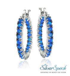 0f4053df5 $32.99 Sterling Silver Blue Opal Inside Out Hoop Earrings Round, glistening  genuine Blue Opal stones