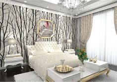 Forest Woods Trees Wallpaper Embossed Viny Black White Mural Wall Stick #Unbranded