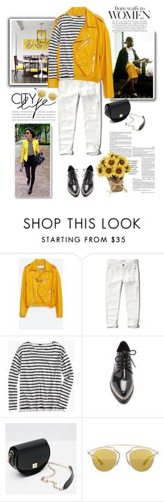 """My Style: Yellow Jackets"" by nastyaafanasova ❤ liked on Polyvore featuring Zara, Abercrombie & Fitch, J.Crew, Forever 21, Christian Dior, women's clothing, women, female, woman and misses"