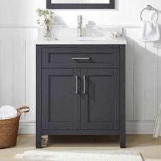 30 Inch Bathroom Vanity, 30 Inch Vanity, 30 Vanity, Gray Vanity, Downstairs Bathroom, Small Bathroom, Master Bathroom, Bathroom Ideas, King Bedroom Sets