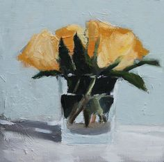 Yellow Roses in small glass, Still Life Painting, Oil on wood panel, 8x8 inch Canadian Art