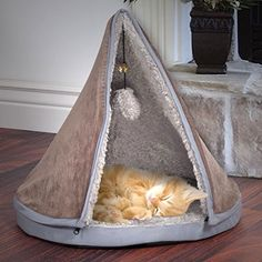 Play Cat Bed Sleep with Removable Teepee Top Pet Furniture Memory Foam Comfort…