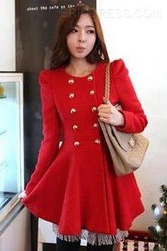 Sweet Slim Single-breasted Long Woolen Coat Coats