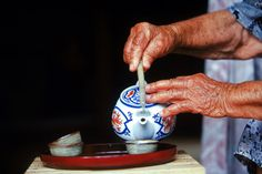 "Okinawans drink a special kind of green tea they call shan-pien, which translates to ""tea with a bit of scent."""