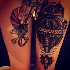 thigh tattoos & it's a hot air balloon! Want!