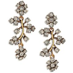 Oscar de la Renta Crystal Branch Clip-On Drop Earrings (715 RON) ❤ liked on Polyvore featuring jewelry, earrings, apparel & accessories, gold, flower earrings, swarovski crystal jewelry, flower jewellery, gold colored earrings and oscar de la renta jewelry