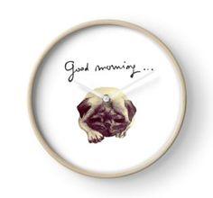 'Good morning pug' Clock by Sonia Vinograd Guidotti