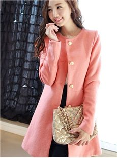 Comfy Candy Color Simple Long Sleeve Wool Trench Coat