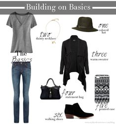 building on a basic outfit of gray tee + skinny jeans... three amazing outfits