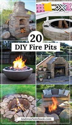 20 DIY Fire Pit Tutorials. I like the flat flagstone.