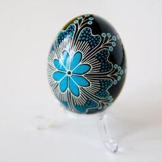 ukrainian egg patterns | Ukrainian Easter Egg - Blue Flower (with clear lucite egg stand ...