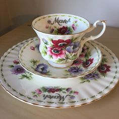 """Royal Albert """"Anemones"""" March Flower of the Month Series Vintage Teacup Saucer Plate, Purple Pink Floral English China Tea Cup Birthday Gift by CupandOwl on Etsy"""