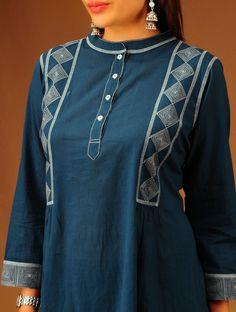 Indigo Band Collar Flared Cotton Tunic.