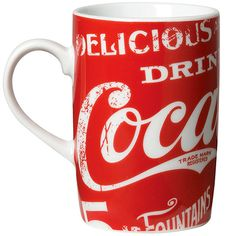 Mug Classic Coke, Enjoy your favorite hot or cold beverage in style – Classic Coke style! Ceramic mug with allover Coke graphics on a red background holds a generous serving of your favorite drink.
