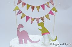 Items similar to Dainty Dinosaurs : Lacy Cake Bunting with T-Rex and Brontosaurus Toppers - Pink and Green on Etsy Dinosaur Land, Dinosaur Party, Cake Bunting, English Roses, T Rex, Pink And Green, Cake Toppers, Wedding Inspiration, Birthday Cake