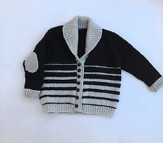 Black & Tan Shawl Baby Cardigan, The perfect roomy sweater weather cardigan. The striped pattern was inspired by my comfy beer; black and tan with its graduated melting of colors. Baby Boy Knitting Patterns, Baby Cardigan Knitting Pattern, Knit Baby Sweaters, Boys Sweaters, Black Cardigan, Knit Cardigan, Sweater Weather, Pull Bebe, Knitting Blogs